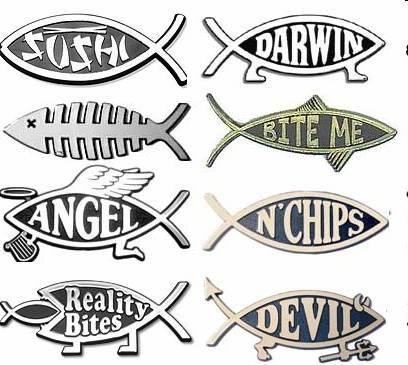 Atheism and Darwin fish and Jesus fish